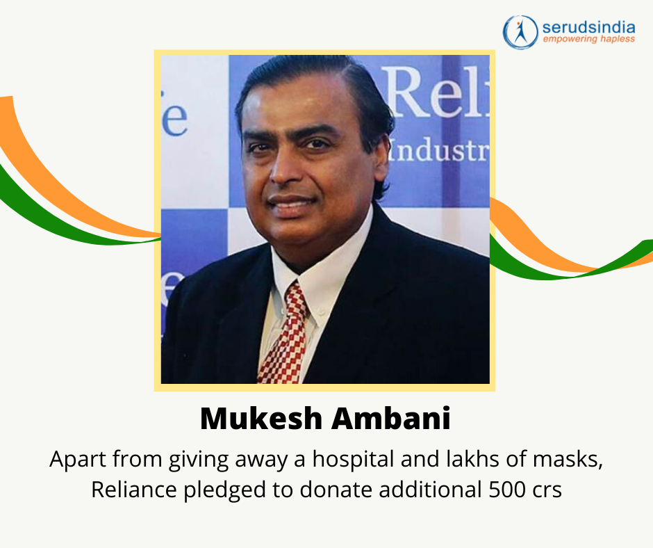Mukesh Ambani- Indian Celebrity Donations for Coronavirus Charity Relief Funds