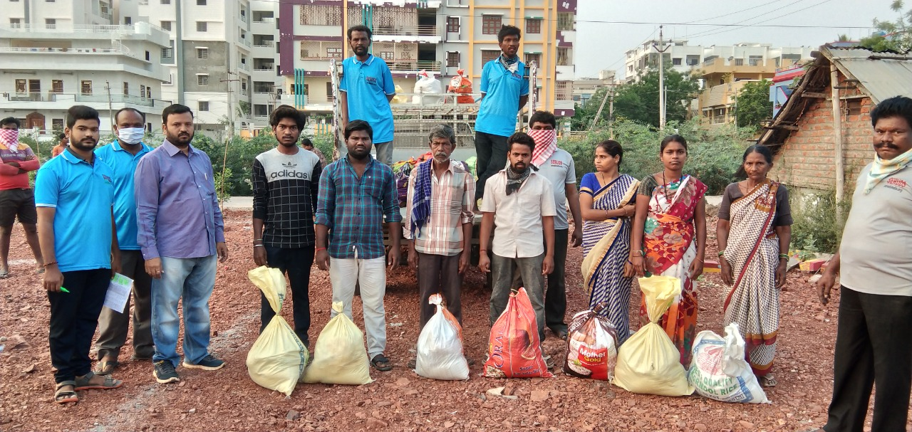 SERRUDS NGO distributes groceries, medical supplies, personal hygiene products and masks to daily wage workers, slum dwellers are rendered jobless by the current COVID-19 pandemic